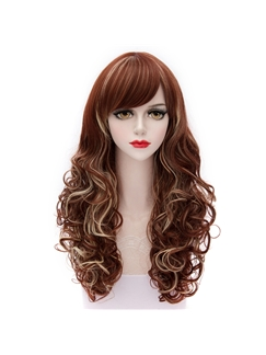 Reddish Brown Mixed with Blonde Long Curly Lolita Style Wigs