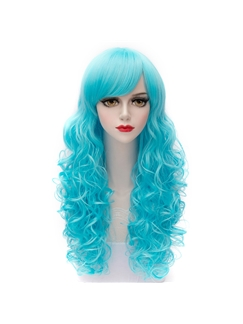 Charming Long Layered Curly Ice Blue Cosplay Wig