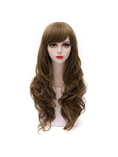 Light Flaxen Long Wave with Side Bang Synthetic Cosplay Wig