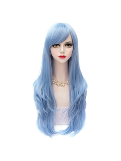 Long Straight Blue Synthetic Wig 28 Inches