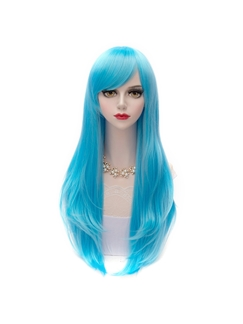 Japanese Lolita Style Ice Blue Synthetic Wigs 28 Inches