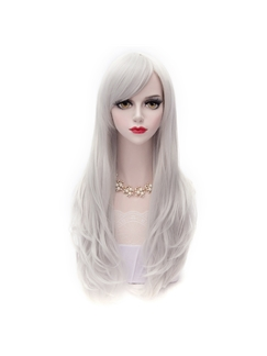 White Long Straight Layered Lolita Wig 28 Inches