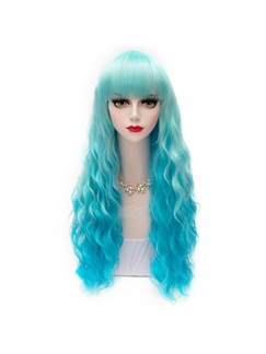 Gradient Color Ice Blue and Green Lolita Wigs 24 Inches