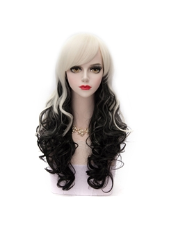 Long Curly Black Mixed with White Lolita Wig 24 Inches