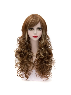 Japanese Lolita Style Long Wave Brown Mixed Blonde Wigs 26 Inches