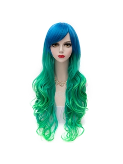 Charming Long Blue and Green Lolita Wigs 30 Inches