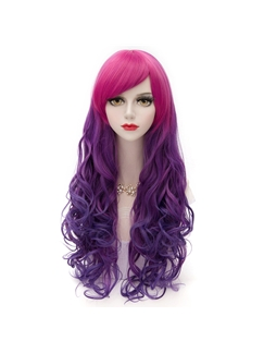 Unique Long Wave Rose Red and Purple Synthetic Hair Wig