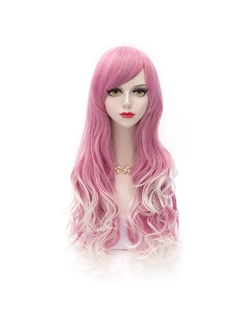 New Arrival Long Wave Light Rose Red with White Wig 30 Inches