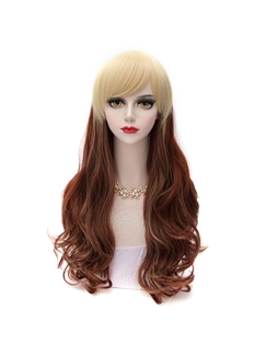 Long Brown Mixed with Blonde Synthetic Hair Cosplay Wigs