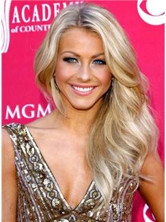 Elegant Mixed Color Long Wavy Lace Wig 100% Real Human Hair