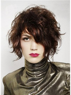 Flawless Casual Short Wavy Hairstyle 100% Real Human Hair Wig