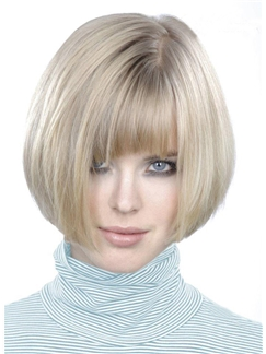 Top Quality Hand-made Soft Short Straight 100% Human Hair Bob Wig