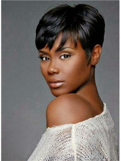 Stylish Top Quality African American Hairstyle Short Straight Full Lace Wig 100% Human Hair
