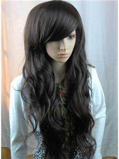 100% Human Hair High Quanlity Long Wavy Natural Black Wig 26 Inches