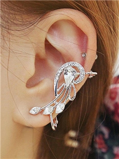 Nice Water-drop Shaped Rhinestone Decorated Women's Ear Cuff
