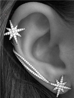 Fashion Shining Snow Rhinestone Asymmetric Ear Cuff