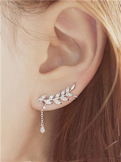 Korean Style Leaf with Crystal Pendant Irregular Earrings for Women