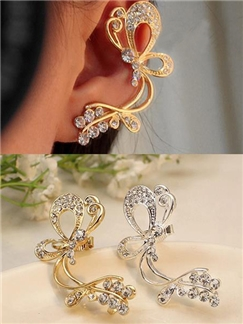 Butterfly Rhinestone Women Ear Cuff  Left Ear