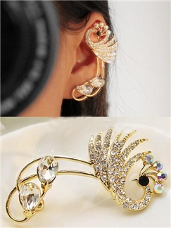 Peacock Rhinestone Women Ear Cuff  Left Ear
