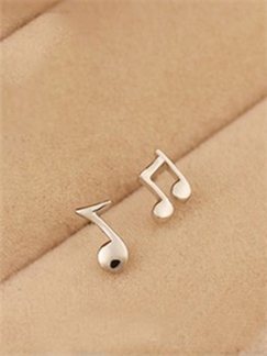Latest Musical Note 925 Sterling Silver Ear Studs for Women