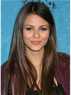 The Chic Long Straight Natural Brown Full Lace Wig 100% Human Hair 18 Inches Bring Long Hair Storm
