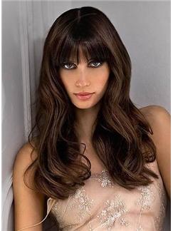 Polished Natural Long Loose Wavy Brown Hair Wig with Full Bang 100% Human Hair 18 Inches