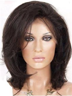 Natural Medium Straight Dark Brown 100% Human Hair Lace Front Wig 12 Inches