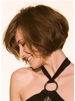Natural Amazing Custom Short Loose Wavy Soft 100% Human Hair Bob Hairstyle Full Lace Wig 8 Inches