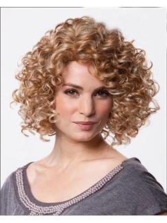 Innovative Medium Curly Blonde 12 Inches 100% Human Hair Wig