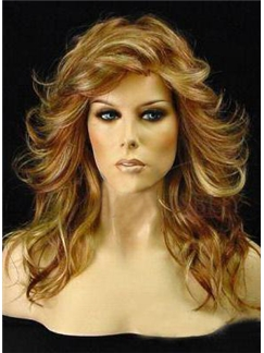 Glamorous Woman's Hairstyle 100% Human Remy Hair Long Wavy 18 Inches Lace Wig
