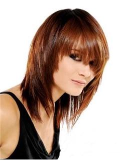 Fashion Medium Straight Layered Soft 100% Real Human Hair Cheap Wig 14 Inches