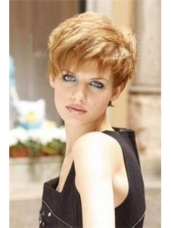 Super Short 100 Human Hair Capless Wig for Women