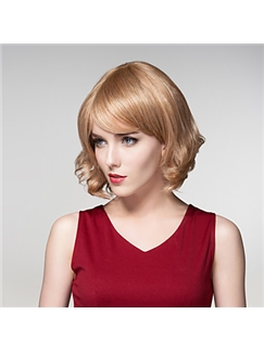Trendy Short Fluffy Virgin Remy Hand Tied-Top Capless Hair Woman's Wig