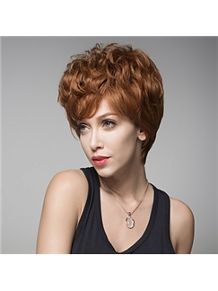 2016 Stylish Short Wavy Fluffy Wig Remy Human Hair Hand Tied -Top Emmor Wigs for Woman