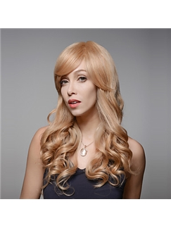 Attracive Stylish Beautiful Long Wavy Remy Human Hair Hand Tied -Top Emmor Woman's Wig