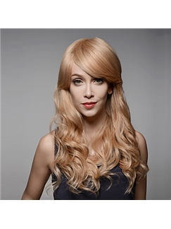 Fashionable Long Wavy Remy Human Hair Hand Tied -Top Emmor Woman's Wig