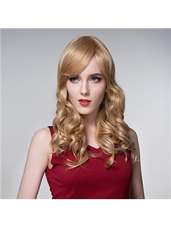 Attractive Woman's Pretty Wavy Human Virgin Remy Hand Tied-Top Capless Hair Wig