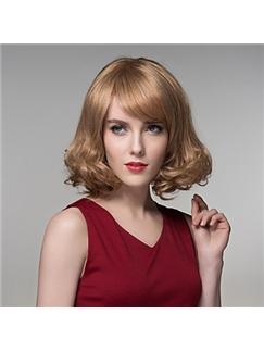 Fashion Short Shaggy Wavy Human Virgin Remy Hand Tied-Top Capless Hair Wigs