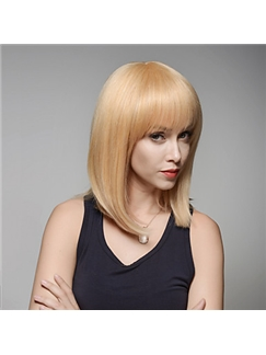 Stuning Medium Length Straight Remy Human Hair Hand Tied -Top Woman's Emmor Wigs