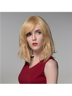 Fashion Natural Wave Woman's Human Virgin Remy Hand Tied-Top Capless Hair Wig