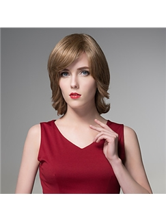 Stuning Medium Short Volume Human Virgin Remy Hand Tied-Top Woman's Capless Hair Wig