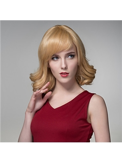 Medium Curling Human Virgin Remy Hand Tied-Top Capless Hair Woman's Wig