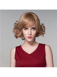 Nice Wavy Human Virgin Remy Hand Tied-Top Capless Hair Woman's Wig