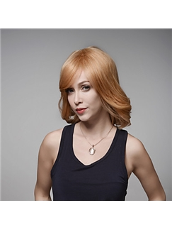 Graceful Casual Virgin Remy Human Hair Hand Tied -Top Medium Wavy Emmor Wigs
