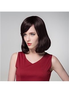 Stylish Full Bang Capless Vogue Human Virgin Remy Hand Tied-Top Short Wavy Hair Wig
