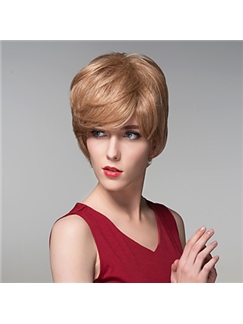 Fashion Short Straight Human Virgin Remy Hand Tied-Top Capless Hair Wigs