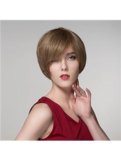 Straight Human Virgin Remy Hand Tied-Top Capless Hair Wigs for Woman