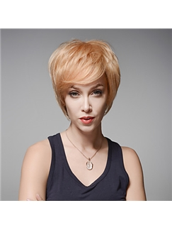 Gorgeous Short Layered Remy Human Hair Hand Tied -Top Emmor Wigs for Woman