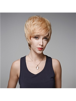 Fashionable Short Straight Remy Human Hair Hand Tied -Top Emmor Wigs for Woman