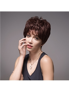 Excellent Short Wavy Woman's Virgin Remy Human Hair Hand Tied -Top Emmor Wigs